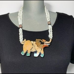 Vintage mother of pearl elephant necklace
